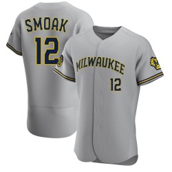 Justin Smoak Milwaukee Brewers Men's Authentic Road Jersey - Gray