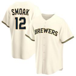 Justin Smoak Milwaukee Brewers Men's Replica Home Jersey - Cream