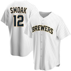 Justin Smoak Milwaukee Brewers Men's Replica Home Jersey - White