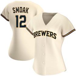 Justin Smoak Milwaukee Brewers Women's Authentic Home Jersey - Cream