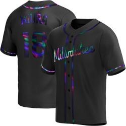 Keston Hiura Milwaukee Brewers Men's Replica Alternate Jersey - Black Holographic