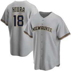 Keston Hiura Milwaukee Brewers Men's Replica Road Jersey - Gray