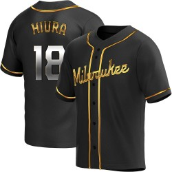 Keston Hiura Milwaukee Brewers Youth Replica Alternate Jersey - Black Golden