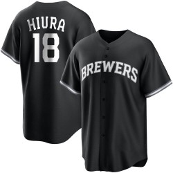 Keston Hiura Milwaukee Brewers Youth Replica Black/ Jersey - White