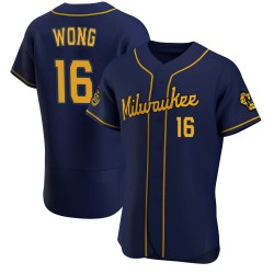 Kolten Wong Milwaukee Brewers Men's Authentic Alternate Jersey - Navy