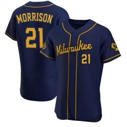 Logan Morrison Milwaukee Brewers Men's Authentic Alternate Jersey - Navy