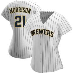 Logan Morrison Milwaukee Brewers Women's Replica /Navy Alternate Jersey - White