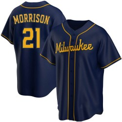 Logan Morrison Milwaukee Brewers Youth Replica Alternate Jersey - Navy