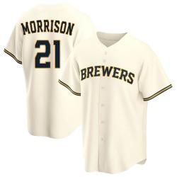 Logan Morrison Milwaukee Brewers Youth Replica Home Jersey - Cream