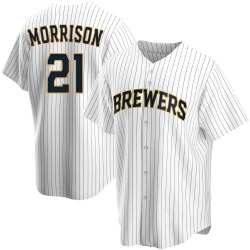 Logan Morrison Milwaukee Brewers Youth Replica Home Jersey - White
