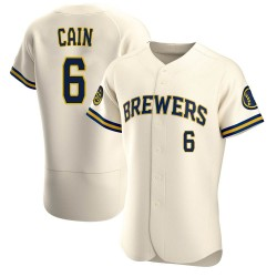 Lorenzo Cain Milwaukee Brewers Men's Authentic Home Jersey - Cream