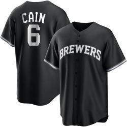 Lorenzo Cain Milwaukee Brewers Men's Replica Black/ Jersey - White