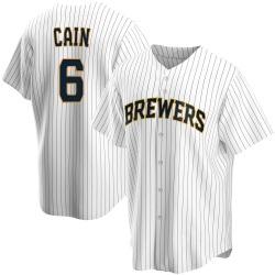 Lorenzo Cain Milwaukee Brewers Men's Replica Home Jersey - White
