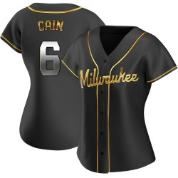 Lorenzo Cain Milwaukee Brewers Women's Replica Alternate Jersey - Black Golden