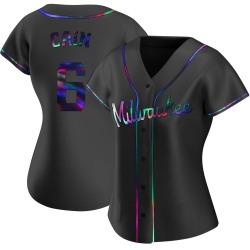 Lorenzo Cain Milwaukee Brewers Women's Replica Alternate Jersey - Black Holographic