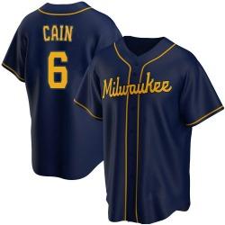 Lorenzo Cain Milwaukee Brewers Youth Replica Alternate Jersey - Navy