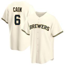 Lorenzo Cain Milwaukee Brewers Youth Replica Home Jersey - Cream