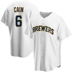 Lorenzo Cain Milwaukee Brewers Youth Replica Home Jersey - White
