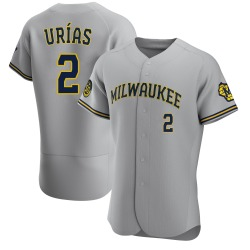 Luis Urias Milwaukee Brewers Men's Authentic Road Jersey - Gray