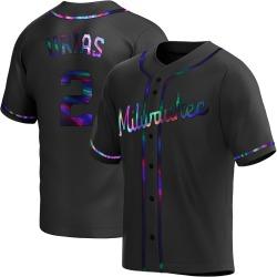 Luis Urias Milwaukee Brewers Men's Replica Alternate Jersey - Black Holographic