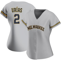 Luis Urias Milwaukee Brewers Women's Authentic Road Jersey - Gray