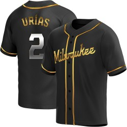 Luis Urias Milwaukee Brewers Youth Replica Alternate Jersey - Black Golden