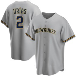 Luis Urias Milwaukee Brewers Youth Replica Road Jersey - Gray