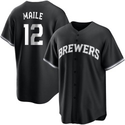 Luke Maile Milwaukee Brewers Men's Replica Black/ Jersey - White