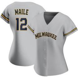 Luke Maile Milwaukee Brewers Women's Authentic Road Jersey - Gray