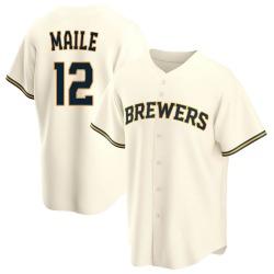 Luke Maile Milwaukee Brewers Youth Replica Home Jersey - Cream