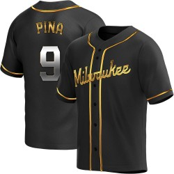 Manny Pina Milwaukee Brewers Men's Replica Alternate Jersey - Black Golden