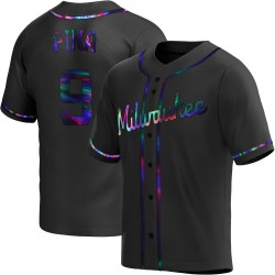 Manny Pina Milwaukee Brewers Men's Replica Alternate Jersey - Black Holographic