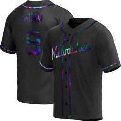 Manny Pina Milwaukee Brewers Youth Replica Alternate Jersey - Black Holographic