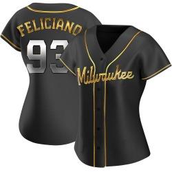 Mario Feliciano Milwaukee Brewers Women's Replica Alternate Jersey - Black Golden