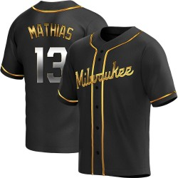 Mark Mathias Milwaukee Brewers Men's Replica Alternate Jersey - Black Golden