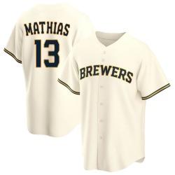 Mark Mathias Milwaukee Brewers Men's Replica Home Jersey - Cream
