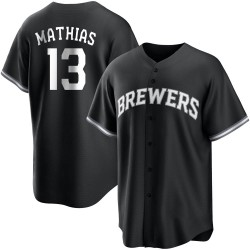 Mark Mathias Milwaukee Brewers Youth Replica Black/ Jersey - White