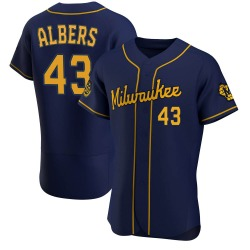 Matt Albers Milwaukee Brewers Men's Authentic Alternate Jersey - Navy