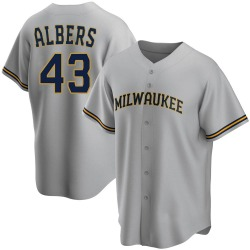 Matt Albers Milwaukee Brewers Men's Replica Road Jersey - Gray