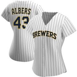 Matt Albers Milwaukee Brewers Women's Replica /Navy Alternate Jersey - White