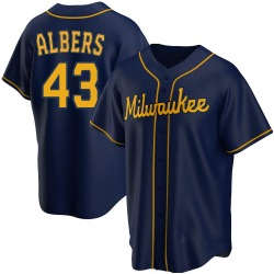 Matt Albers Milwaukee Brewers Youth Replica Alternate Jersey - Navy