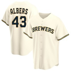Matt Albers Milwaukee Brewers Youth Replica Home Jersey - Cream