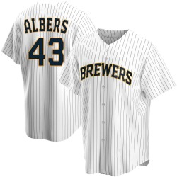 Matt Albers Milwaukee Brewers Youth Replica Home Jersey - White