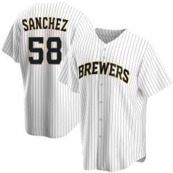Miguel Sanchez Milwaukee Brewers Men's Replica Home Jersey - White