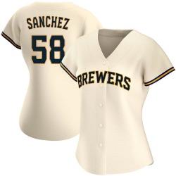 Miguel Sanchez Milwaukee Brewers Women's Authentic Home Jersey - Cream