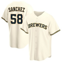 Miguel Sanchez Milwaukee Brewers Youth Replica Home Jersey - Cream