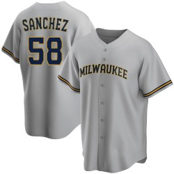 Miguel Sanchez Milwaukee Brewers Youth Replica Road Jersey - Gray