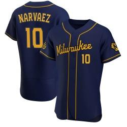 Omar Narvaez Milwaukee Brewers Men's Authentic Alternate Jersey - Navy