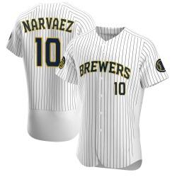Omar Narvaez Milwaukee Brewers Men's Authentic Alternate Jersey - White
