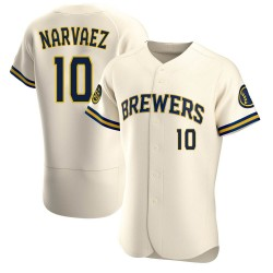 Omar Narvaez Milwaukee Brewers Men's Authentic Home Jersey - Cream